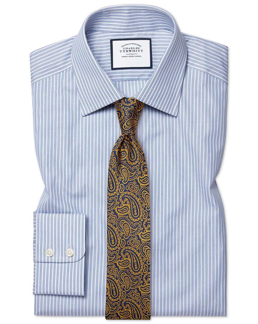 Classic fit poplin fine stripe blue shirt