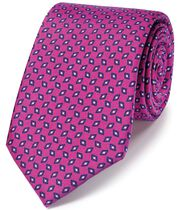 Pink silk printed classic tie