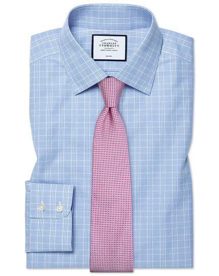 Chemise bleu ciel à carreaux Prince de Galles coupe droite sans repassage
