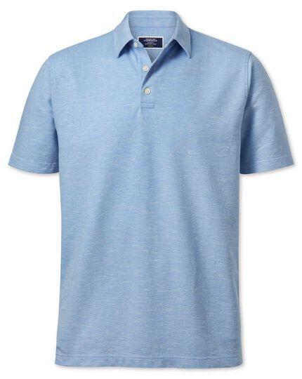 Blue cotton linen polo