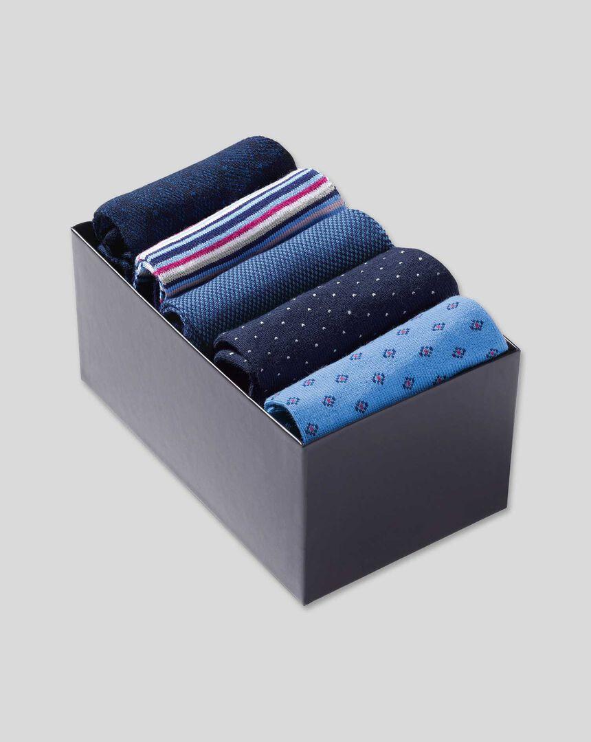 Patterned Socks Gift Box Set - Blue Multi