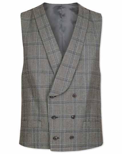 Grey Prince of Wales adjustable fit British luxury suit waistcoat