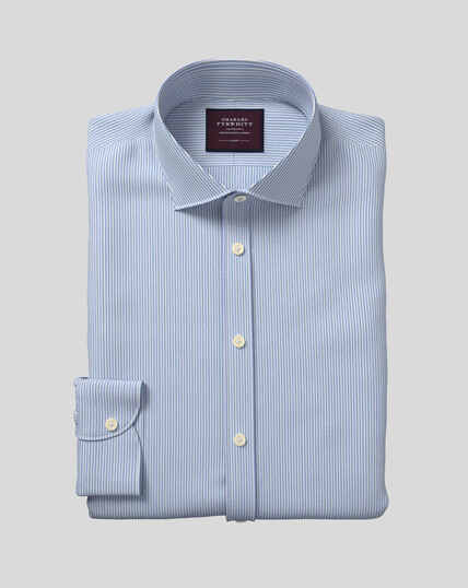 Semi-Cutaway Collar Italian Luxury Dobby Stripe Shirt - Teal