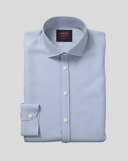 Semi-Cutaway Collar Italian Dobby Stripe Shirt- Teal