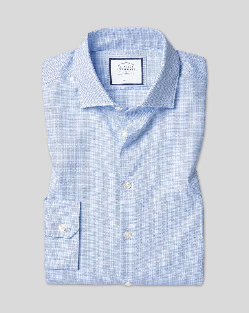 Bügelfreies Sketch-Hemd mit natürlichem Stretch und Business-Casual-Kragen - Blau