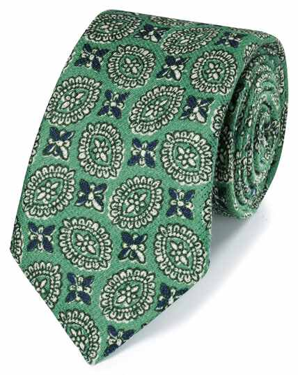 Green motif print luxury Italian cotton linen tie