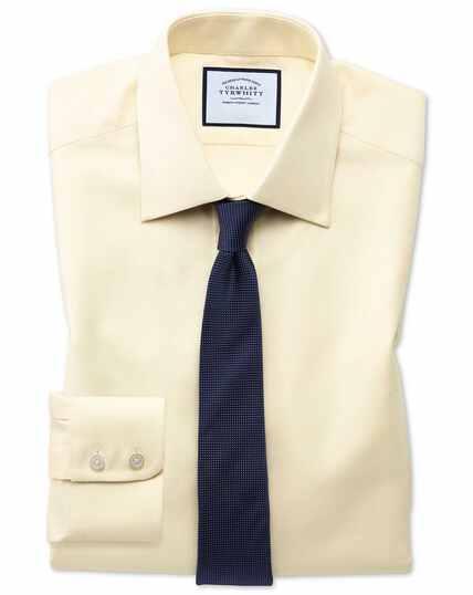 Königsblau Oxfordhemd Extra Slim Fit ägyptische Baumwolle in Gelb