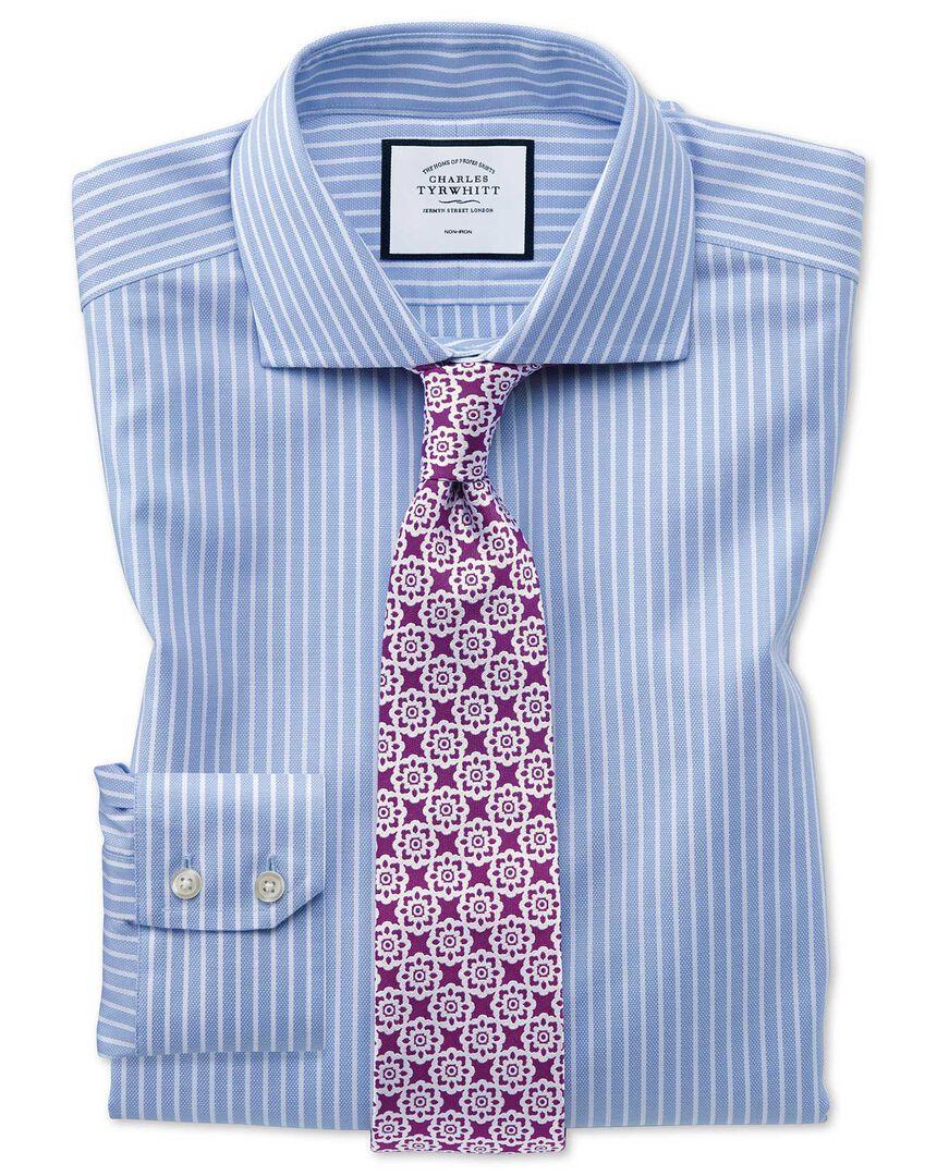 Slim fit non-iron cotton stretch Oxford sky blue and white stripe shirt
