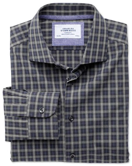 Slim fit semi-cutaway collar business casual melange navy and grey check shirt