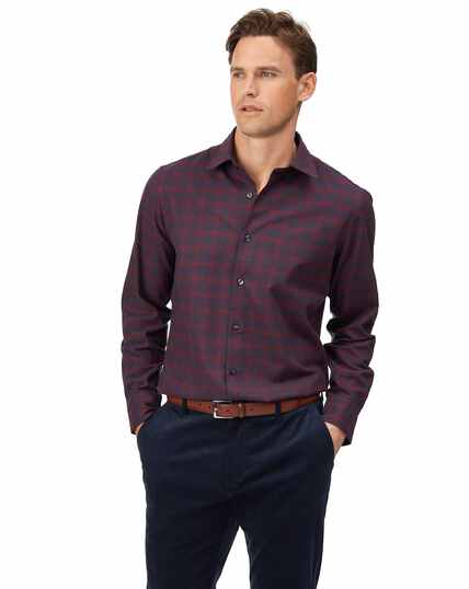Slim fit cotton with TENCEL™ burgundy check shirt