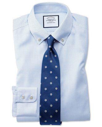 Classic fit button-down non-iron twill mini grid check sky blue shirt