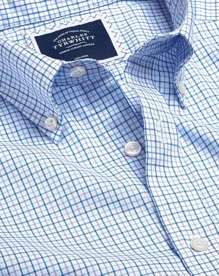 Button-Down Collar Non-Iron Stretch Oxford Check Shirt - Blue & Sky
