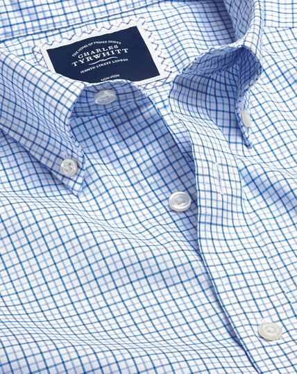 Bügelfreies Oxfordhemd aus Stretchgewebe mit Button-down-Kragen und Karos - Blau & Himmelblau