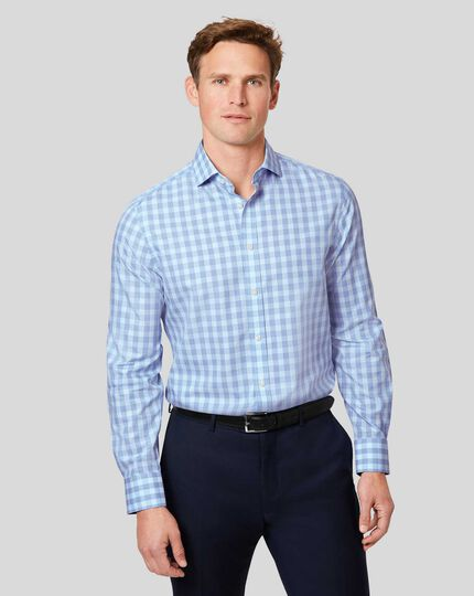 Cutaway Collar Non-Iron Tyrwhitt Cool Poplin Check Shirt - Sky & Blue