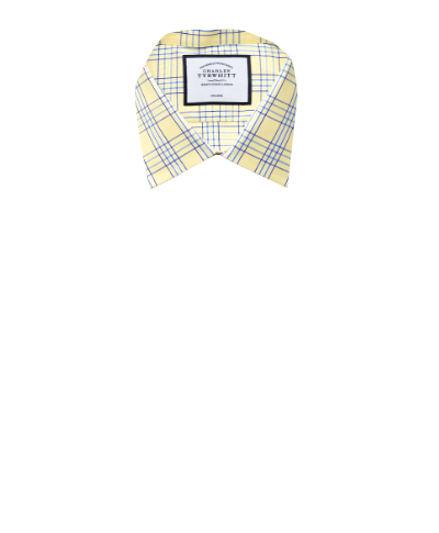 Slim fit non-iron Prince of Wales yellow shirt