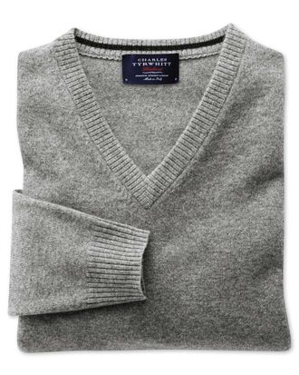 Silver grey cashmere v-neck jumper