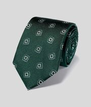 Silk Textured Square Motif Classic Tie - Green & Sky