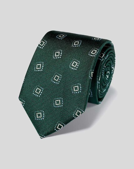 Silk Textured Square Motif Tie - Green & Sky