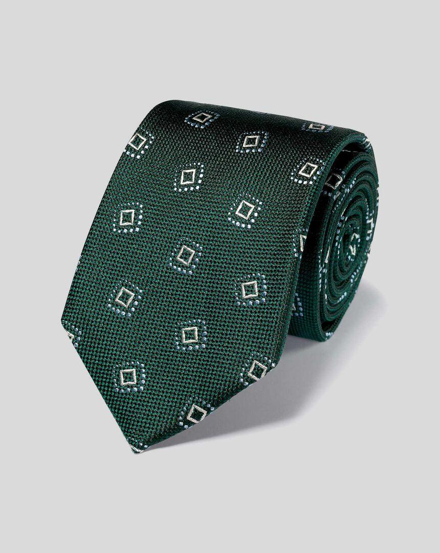 Strukturierte Krawatte aus Seide mit Quadratmuster - Grün & Himmelblau