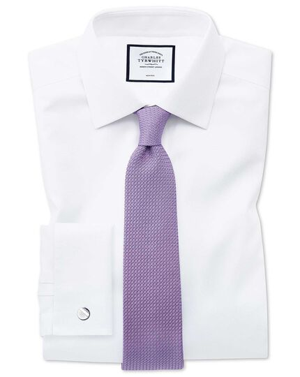 Classic fit non-iron white triangle weave shirt