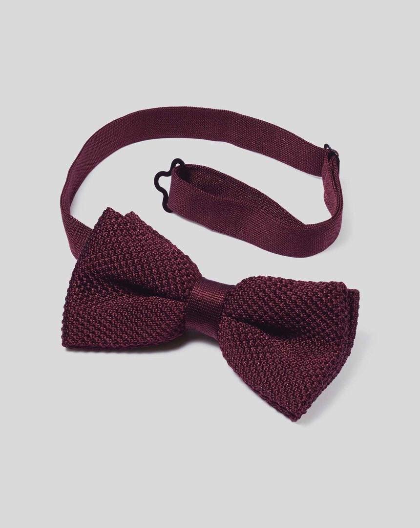 Silk Knitted Classic Bow Tie - Burgundy