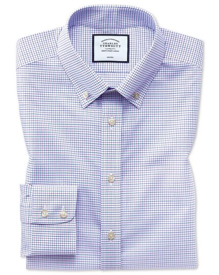 Classic fit non-iron button-down lilac and blue shirt