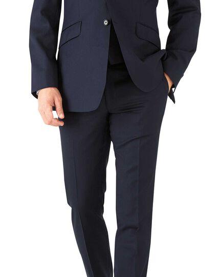 Navy slim fit herringbone Italian suit jacket