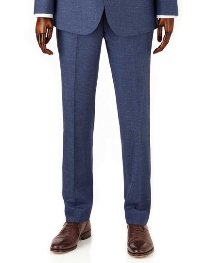 Airforce blue slim fit flannel business suit pants