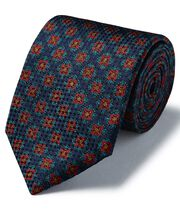 Navy silk medallion print textured English luxury tie