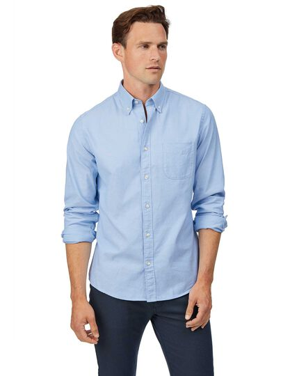 Extra slim fit sky button-down washed Oxford plain shirt