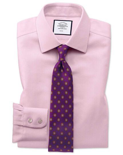 Chemise rose avec armure à chevrons slim fit sans repassage