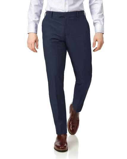 Navy slim fit stretch non-iron trousers