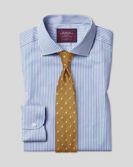 Chemise en twill luxueux à rayures et col semi cutaway -  Bleu ciel