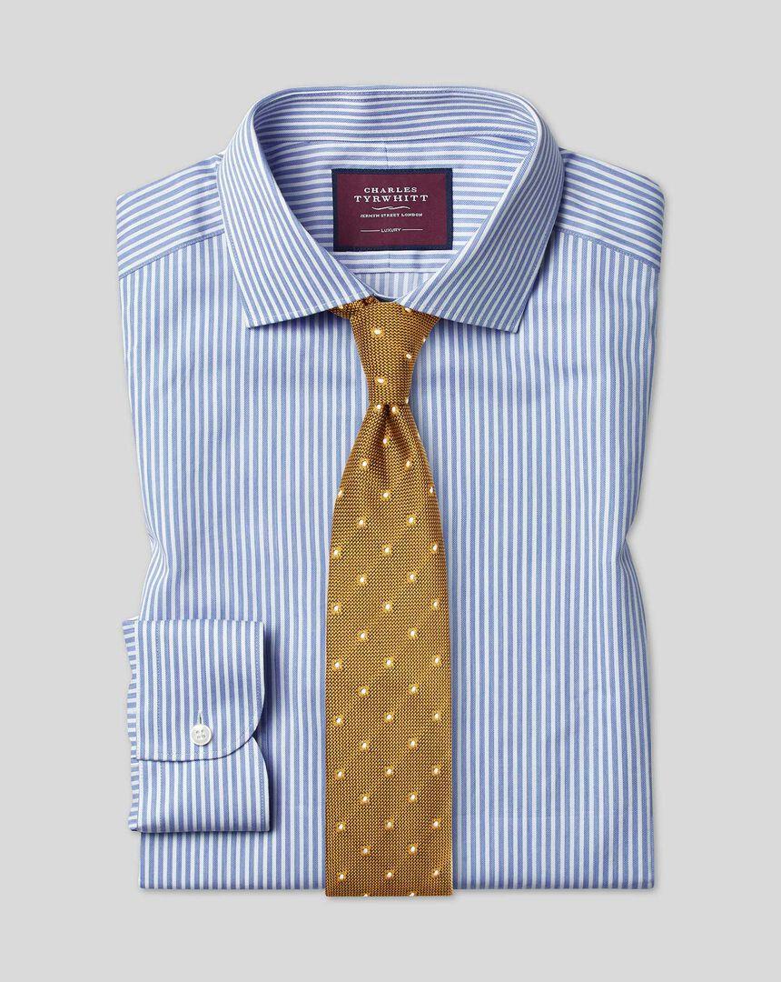 Semi-cutaway Collar Luxury Stripe Shirt- Sky
