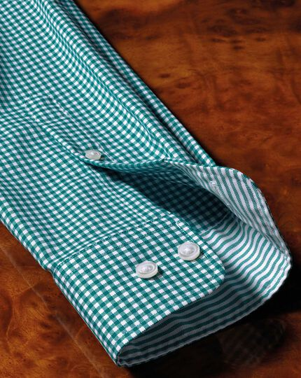 Extra slim fit button-down non-iron Oxford gingham green shirt