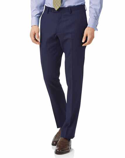 Blue slim fit twill stripe business suit trousers