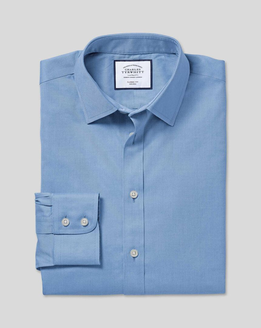 Classic Collar Non-Iron Twill Shirt - Blue