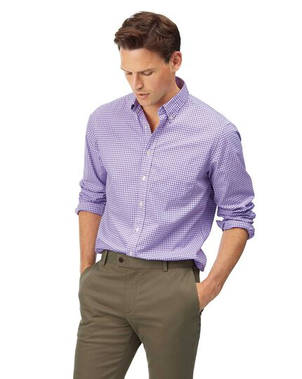Slim fit lilac check gingham soft washed non-iron stretch poplin shirt