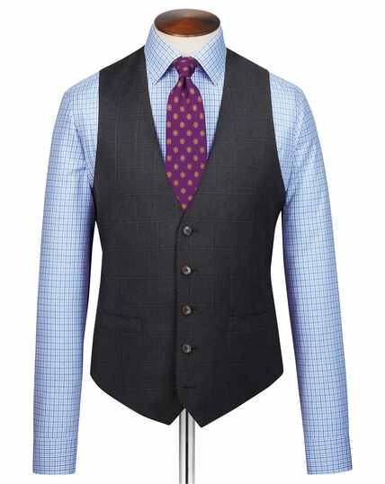 Grey check adjustable fit Italian suit waistcoat