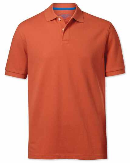 Dark orange pique polo