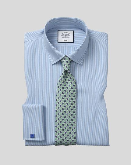 Chemise à rayures Bengale et col classique sans repassage - Bleu ciel