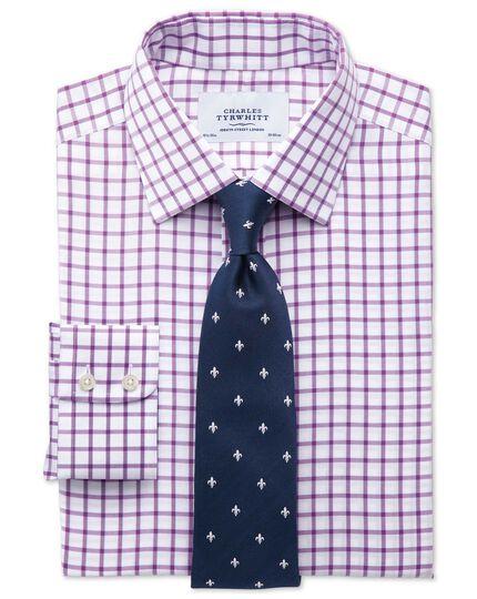Slim fit non-iron twill grid check purple shirt