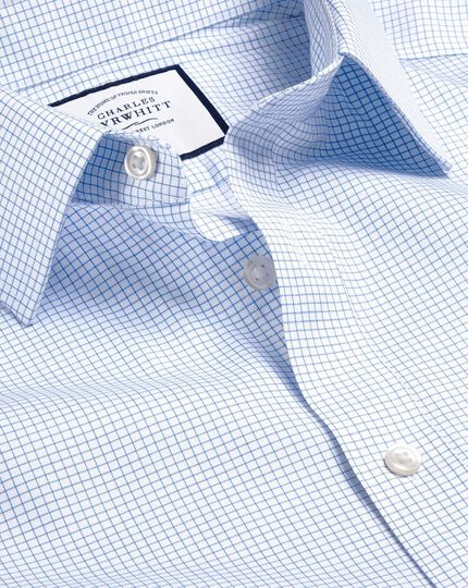 Classic Collar Non-Iron Twill Mini Grid Check Shirt - Sky