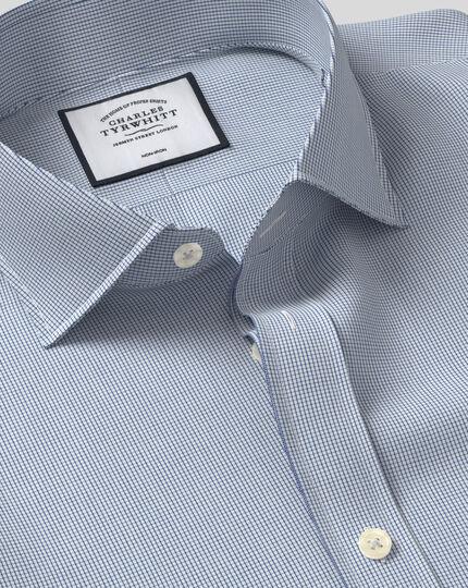 Cutaway Collar Non-Iron 4 Way Stretch Check Shirt - Navy