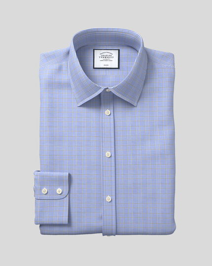 Classic fit non-iron blue and gold Prince of Wales check shirt