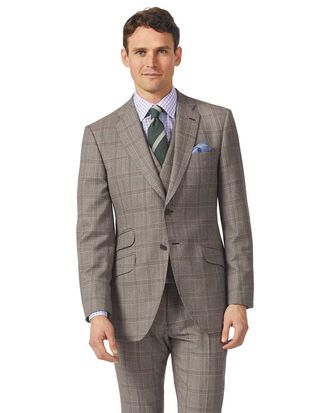 Grey slim fit British Prince of Wales check luxury suit jacket