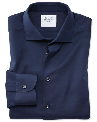 Slim Fit Business-Casual-Hemd aus Royal Oxford in Marineblau