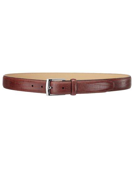Tan leather croc embossed belt