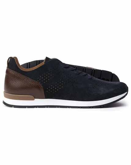 Navy and brown suede trainers