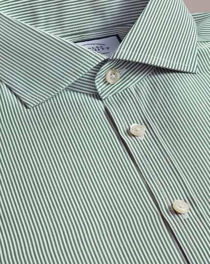 Non-Iron Spread Collar Bengal Stripe Shirt - Olive